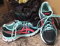 Asics black, teal, red, & white running shoes Calgary, T2J