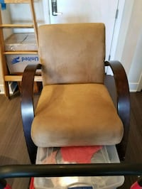 brown wooden framed beige padded armchair Oxon Hill, 20745