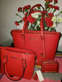 red Michael Kors leather tote bag Falls Church, 22042