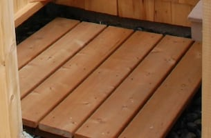 Outdoor Shower Cedar Floors [2]