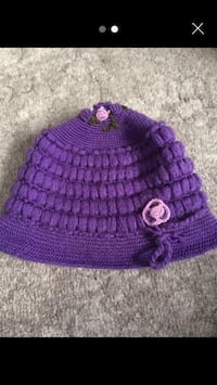Purple knitted cap hands made £1 each  Bromley, BR1 5NH