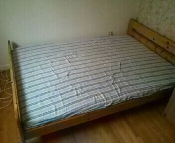 Ikea double wood bed frame and matress