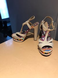white-and-black open toe ankle strap wedges Winnipeg, R3C 1Y9