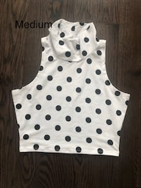 White and Black Polka Dot Turtle Neck Crop Top
