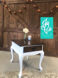 Beautiful Solid Wood End Table. Refinished With White Chalk/ Creme Wax Finish