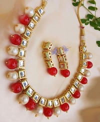 red and gold beaded necklace Jaipur, 302012