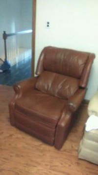 brown leather padded sofa chair Cave Spring, 24018