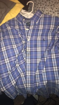 blue and white plaid button-up shirt Norman, 73072