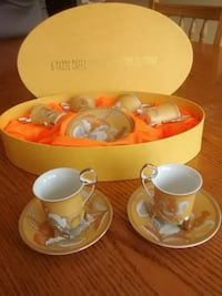 Set of 6 expresso cups and saucers in gold plated  Vaughan, L4L