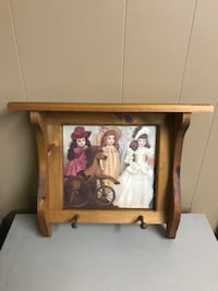 """Wooden Shelf  with dolls on it. Excellent shape 18"""" long, 15"""" tall, 5"""" wide"""