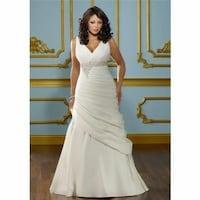 women's white v-neck sleeveless gown