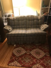 brown and white plaid fabric loveseat Sterling, 20166
