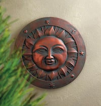 """Bronze look smiling sun wall plaque or garden stone 12"""" dia new in box cement material  Ronkonkoma, 11779"""