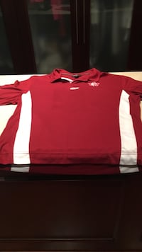 red and white polo shirt men's lg