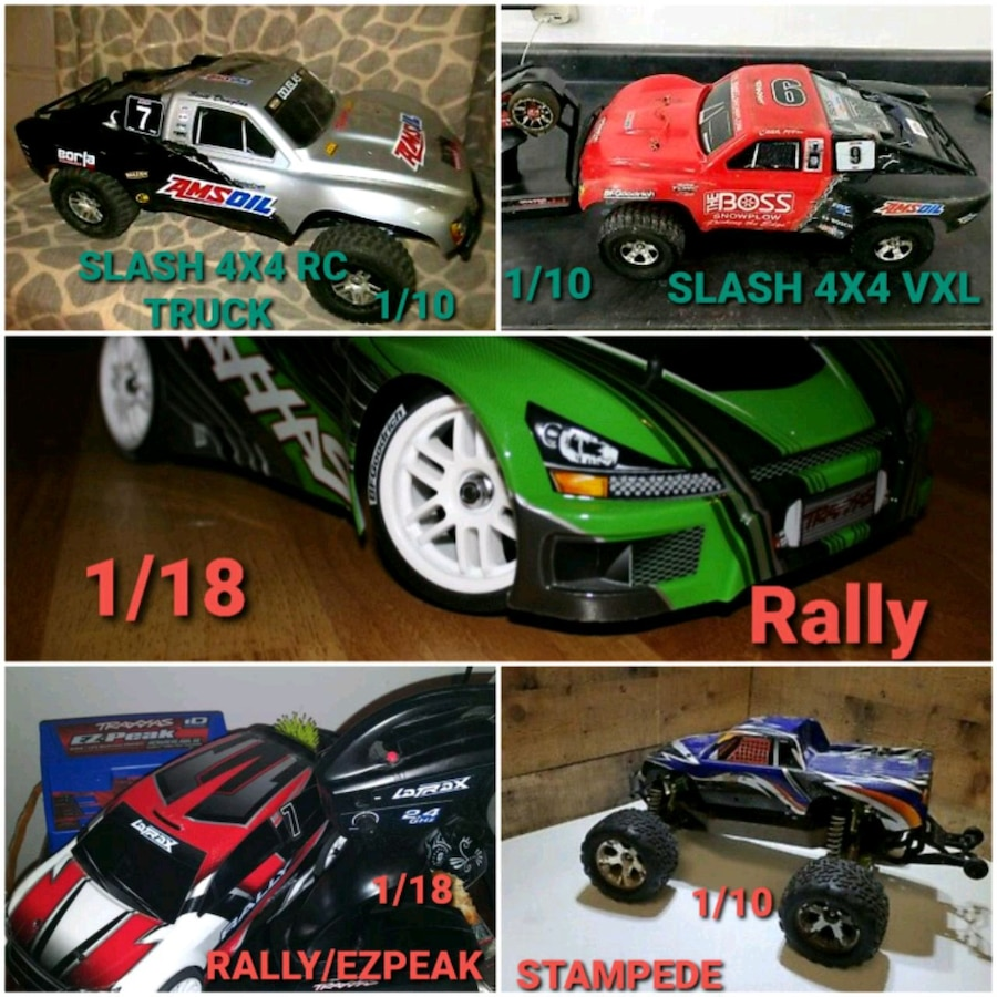 Photo TRAXXAS LOT OF 5 RC CARS AND AN EZPEAK DUAL CHARGER