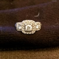 .75 ct total weight 14k white gold engagement ring
