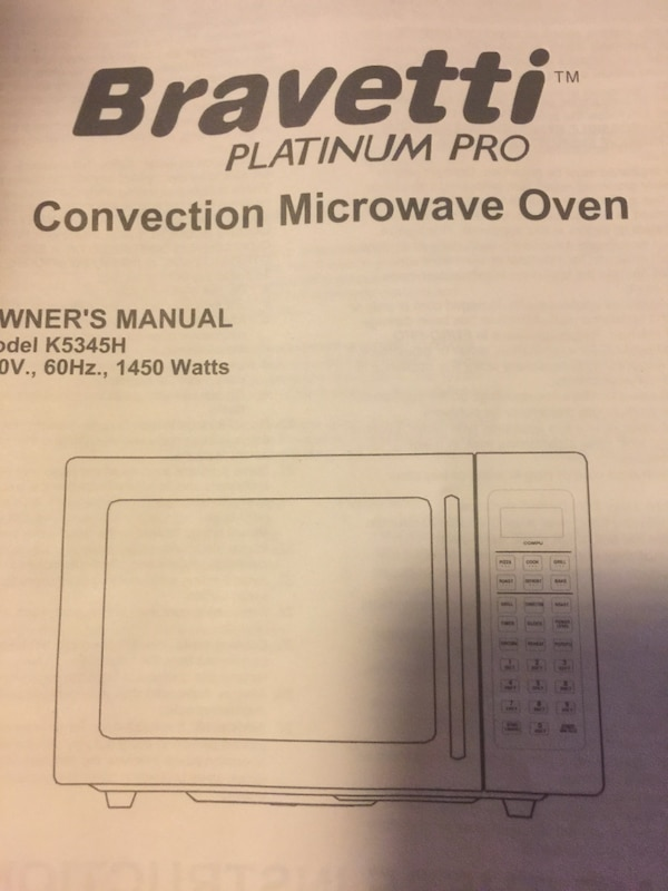 Bravetti Platinum Pro Convection Microwave Oven Manual