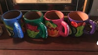 4 hand painted mexican pottery clay mugs