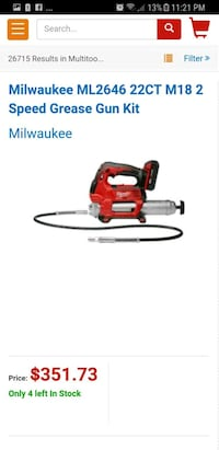 Milwaukee Speed Grease Gun (tool only) Kelowna, V1Y 1S1