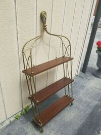 brown wooden copper shelf