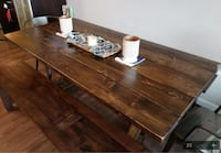 Dining Set, Solid Pine, includes benches and chair