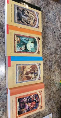 "4 books of the series ""A Series of Unfortunate Events"""