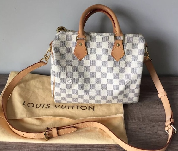 412f376969cc0 Used Authentic Louis Vuitton Speedy 25 Bandouliere Damier Azur for ...