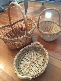 two white and one brown wicker baskets Lynn, 01902