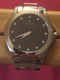 Movado Masino 0606185 Black Dial Stainless Steel Men's Watch