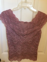 brown lace v-neck cap sleeve top Lake Forest, 92630