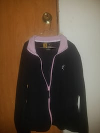 black and pink fleece zip-up jacket