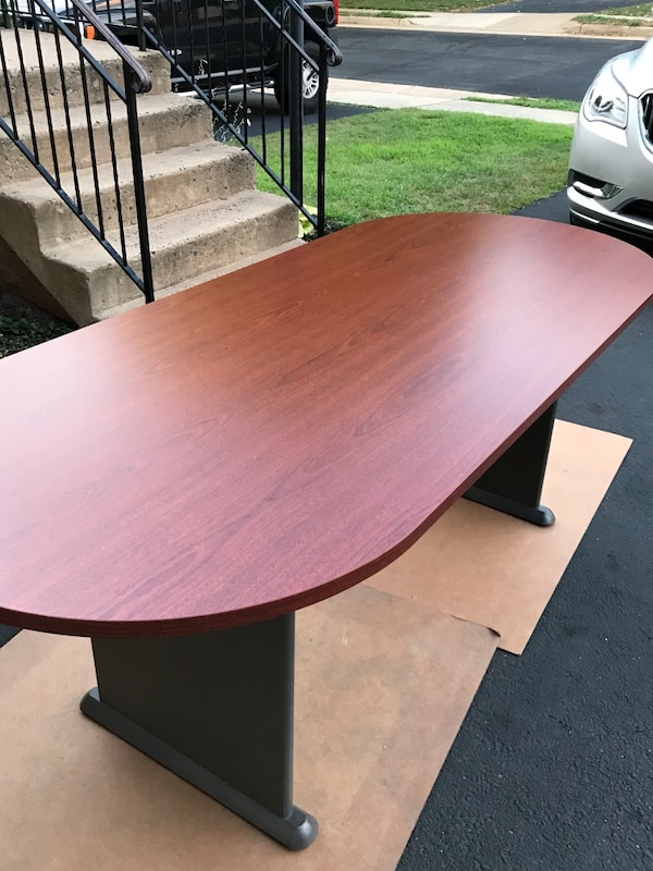 "84"" Wood veneer racetrack conference table!"