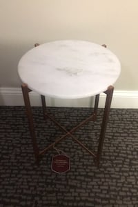 Side Table Stand Stone Top Rose Gold or Brass Base Marble Quartz Alexandria, 22312