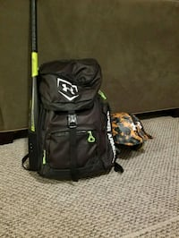 black and green backpack with bag 493 mi