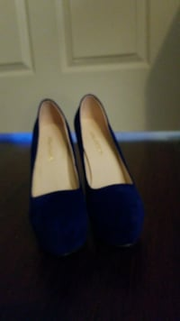 Blue suede stiletto platform pumps