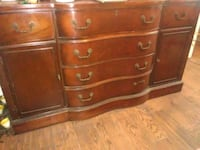 brown wooden antique buffet Houston, 77083