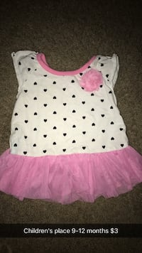 white and pink heart print shirt with tutu skirt Portage, 49024