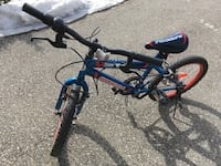Blue and red hard tail mountain bike