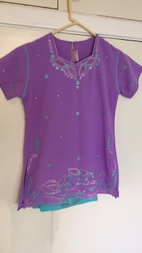 Light purple and turquoise Indian suit