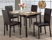 BRAND NEW MARBLE TOP DINNING SET 5PCS WITH PU-LEATHER CHAIRS TORONTO