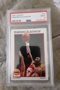 1992 NBA HOOPS HAKEEM OLAJUWON BASKETBALL CARD HOUSTON ROCKETS  MINT 9