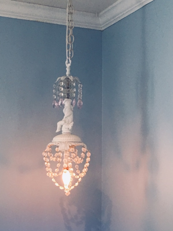 White and Pink Crystal Vintage Chandelier