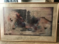 black and white abstract painting with brown frame