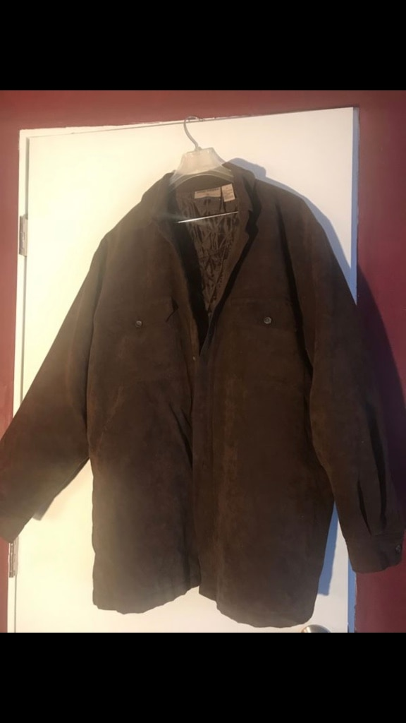 Photo Men's suede jacket dark brown