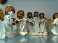 angel in white robes figurines