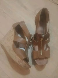pair of brown leather open-toe heels Winnipeg, R3T