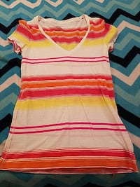 red yellow and white stripe v-neck t-shirt Victoria