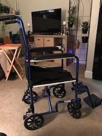 Wheel chair,could be for a child or someone with small frame. Used twice.  Like new. The back folds down for easy lifting and storing. 42 km