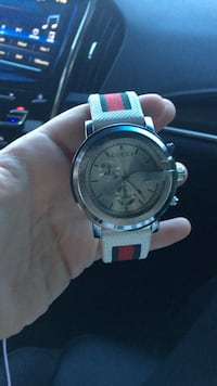 round silver chronograph watch with white strap Germantown, 20874