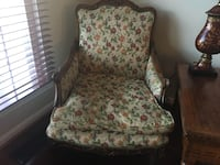 Upholstered cherry antique arm chair. Best offer! Reston, 20194